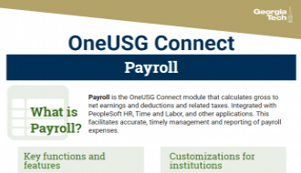This is a one-page flyer focusing on Payroll in OneUSG Connect.