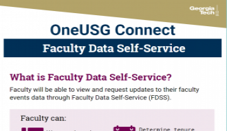 This is a one-page flyer focusing on Faculty Data Self-Service in OneUSG Connect.