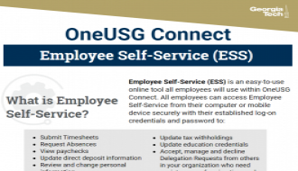 This is a one-page flyer focusing on Employee Self-Service in OneUSG Connect.