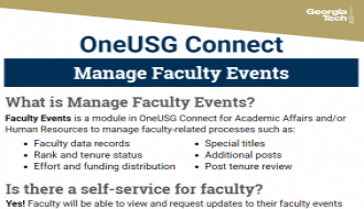 This is a one-page flyer focusing on Managing Faculty Events in OneUSG Connect.