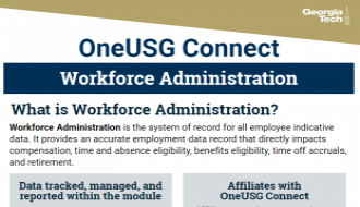 This is a one-page flyer focusing on Workforce Administration (WFA) in OneUSG Connect.