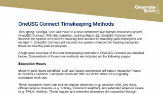 This guide explains the OneUSG Connect Timekeeping Methods