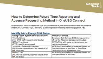 This is a guide on theOneUSG Connect Current v. Future Time and Absence Matrix