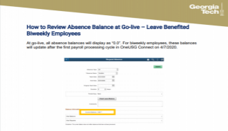 This is a guide focusing on How to Review Absence Balances at Go-Live for Biweekly Employees