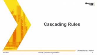 This is a guide explaining Cascading Rulesl in OneUSG Connect.