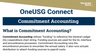 This is a one-page flyer focusing on Commitment Accounting in OneUSG Connect.