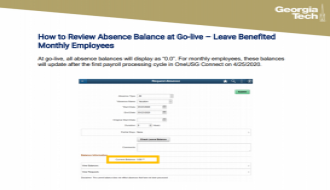 This is a guide focusing on How to Review Absence Balances at Go-Live for monthly employees
