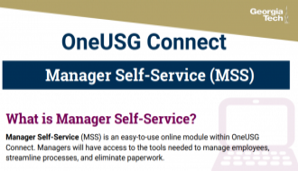 This is a one-page flyer focusing on Manager Self-Service in OneUSG Connect.