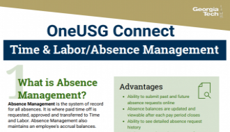 This is a one-page flyer focusing on Time & Labor/Absence Management in OneUSG Connect.